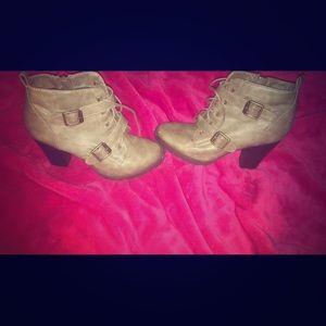 Grey high heel wedges